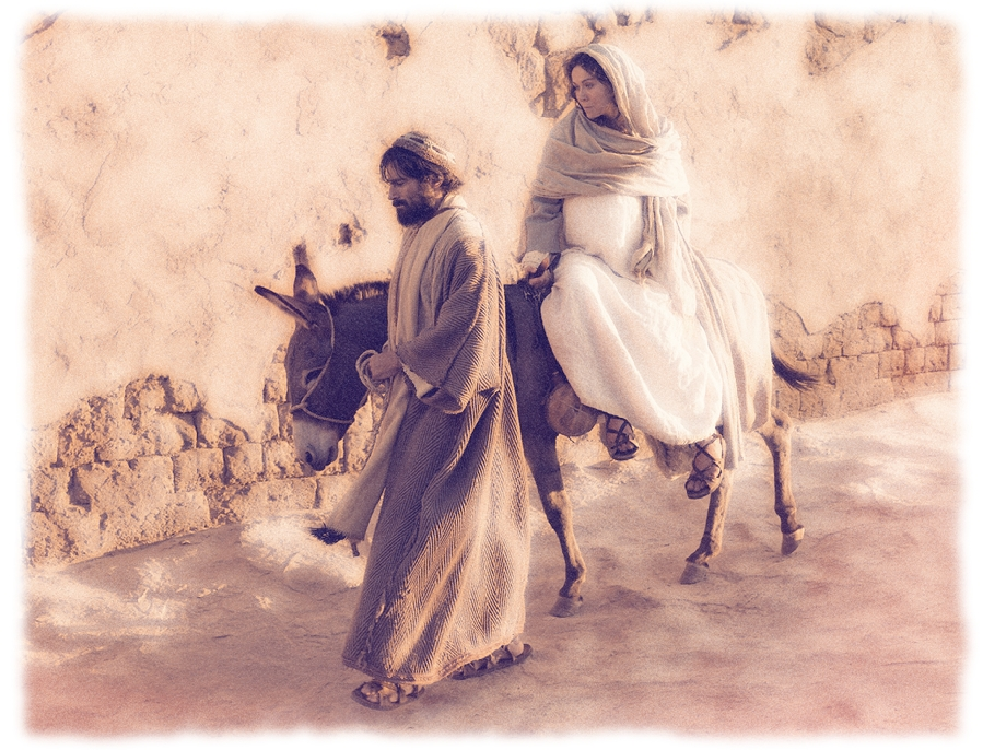 mary and joseph meet the donkey in stable